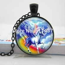 HZ--A532 New Unicorn Necklace Running Unicorn Pendant Glass Animal Jewelry Glass Cabochon Necklace Pendant HZ1