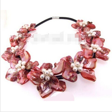 Free shipping Charming real cultured freshwater Pearl nine pink Shell Flower NecklaceNoble style Natural Fine jewe ()(China)