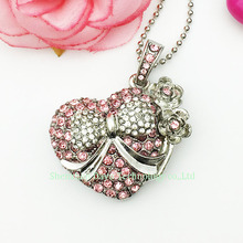 Full capacity pendrives USB thumb delicate lovely bowknot heart handbag crystal USB stick 4G 8GB/16GB/32GB gift flash drive disk