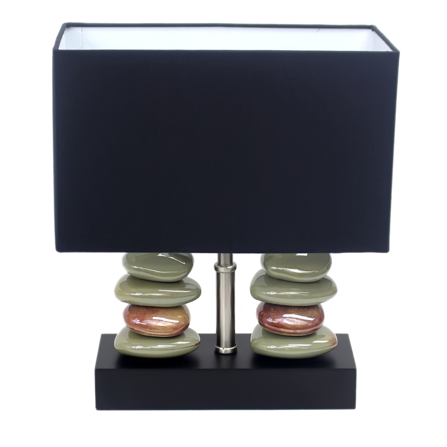 Elegant Designs Rectangular Dual Stacked Stone Ceramic Table Lamp with Black Shade (2)