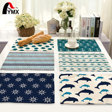 Mix 11 Style Table Napkins Dolphin Boat Anchor Cable Steering Wheel Printed Linen Cloth Dinner Napkins Tea Towels For Napkins
