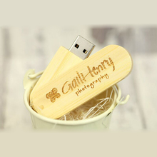 10PCS/LOT Customized logo engraving Swivel Bamboo Material 4GB 8GB 16GB USB 2.0 flash drive Pendrive for promotional Gifts