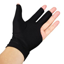 5Pc Snooker Left Hand Glove 3-Finger Spandex Billiard Table Cue Elastic Pool Open Three Finger Black Durable Nylon Accessory