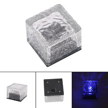 Solar Ice Cube Rock LED Frosted Glass Brick Paver Garden In-groud Buried Light Ingroud for Garden Path Road Square Yard IP68