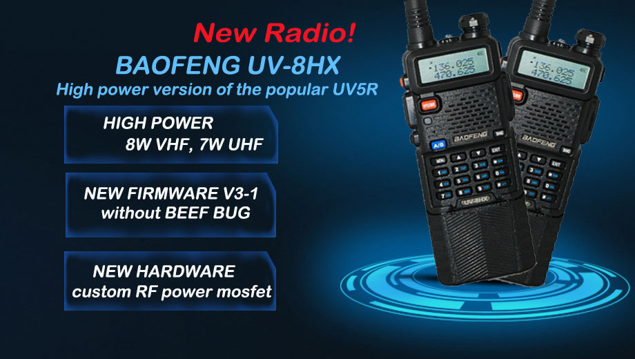 2x Baofeng UV-8HX VHF/UHF Dual Band Ham Walkie Talkie Two-way Radio sister baofeng uv 5r uv-6r uv-3r+headset 1/4/8W FM