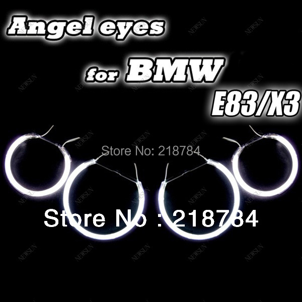Free shipping super bright CCFL Angel eyes halo Rings kit for bmw E83 X3 auto headlight ( 4 rings+ 2 Waterproof Inverters)<br>