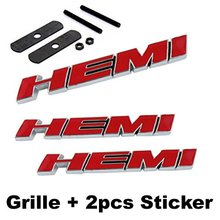 3pcs Red B195 HEMI Grille + Back Emblem Decal Badge Sticker Dod ge Charger Ram 1500 Challenger Grand Cherokee
