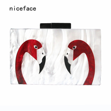 2017 brand fashion vintage elegant banquet wallet hard hasp woman evening bag Marble acrylic Double Flamingo casual Cute Clutch