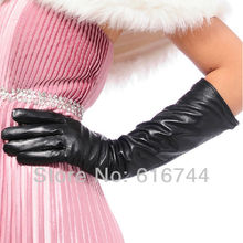 Vintage Women's 40cm Long Gloves Genuine Lambskin Leather Silk Lined Black Brown S M L(China)
