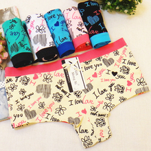 Buy Free shipping 3pcs/Pack!Sexy briefs women New Fashion Printing Sexy Cotton Panties Female Underwear Safety Panties Boyshort