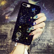 for Iphone 6 6s 7 plus Korea Luxury Moon Star Satellite black soft case cover(China)