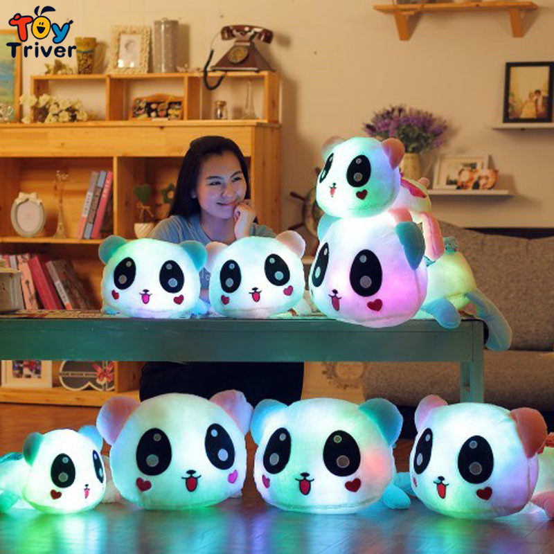 Triver Toy Colorful luminous led light up plush toys stuffed panda doll glowing baby boy girlfriend valentine gift free shipping<br><br>Aliexpress