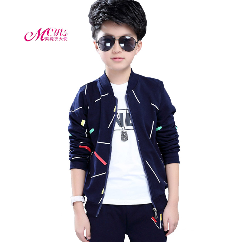 New Kids Clothing Boys Sport Suits Spring Autumn Long Sleeve Top+T-shirt+Pants 3 pcs Outfits Boys Tracksuit 4 6 8 10 11 12 Years<br>
