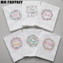 Embroidery Wedding Serviette Super-Absorbent Cotton Plain Tea Towel Glass Concise Upscale Home Cloth Table Napkin 45*70 SBY8039(China)
