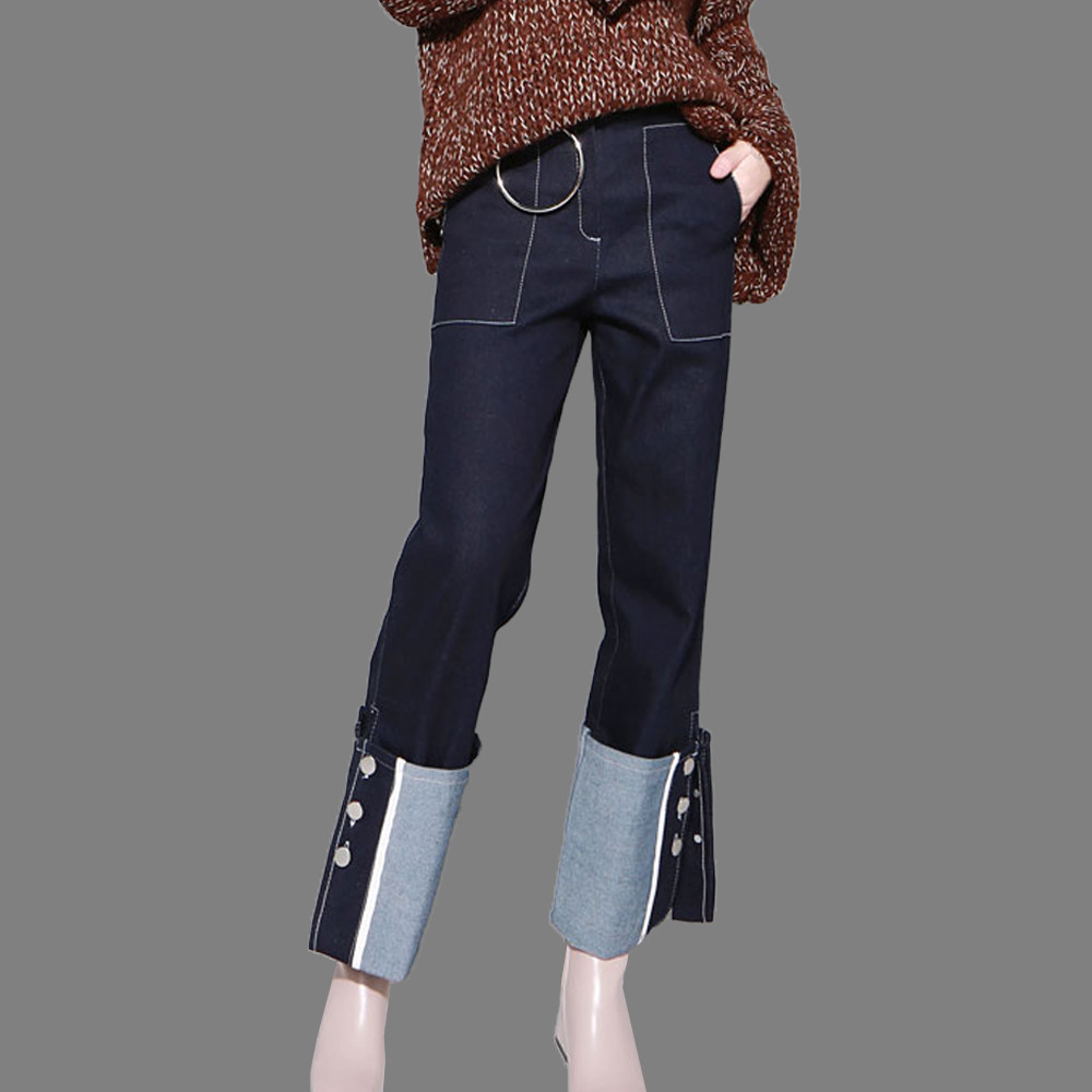 2017 Woman Spring Autumn Turn-up Loose Pants Button Up Denim Long Jeans Fashion Spliced Flare Pants Boyfriend Jeans AA562Одежда и ак�е��уары<br><br><br>Aliexpress