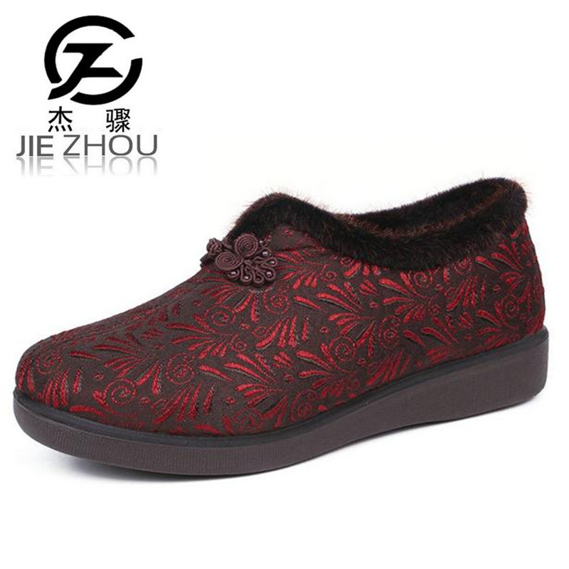 Large size embroidered cloth shoes Winter flat with womens shoes fashion soft bottom Small code elderly shoes zapatos mujer <br>
