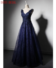 Navy Blue Lace Mother of the Bride Dresses for Weddings A Line Beaded Evening Gowns Formal Godmother Groom Long Dresses(China)