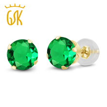 GemStoneKing Gold Jewelry 1.54 Ct Round 6mm Green Nano Emerald Stud Earrings 14K Yellow Gold Engagement Earrings For Women(China)