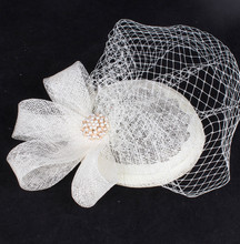 17 colors fashion fascinator headwear sinamay base with bridal veil party show hair accessories millinery cocktail hat MYQ101