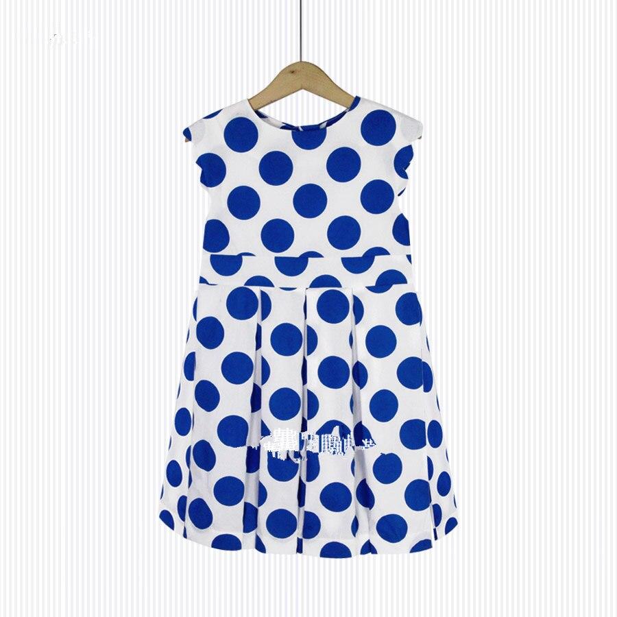 Girls cotton dress Summer section thin Blue round dress Cotton  <br>