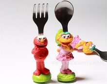 2pcs/lot 100% High Quality Sesame Street ELMO Zoe Cute Beauty Cartoon Stainless Steel Spoon Fork Children Birthday Gift