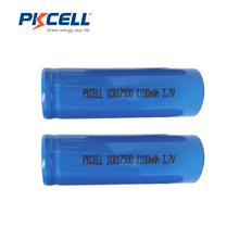 2PCS PKCELL ICR 17500 Battery 1100mAh 3.7V Li-ion Rechargeable Battery Lithium Batteries Bateria Baterias(China)