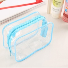 New Transparent Cosmetic Travel Bag Women Makeup Organizer PVC Washing Bags Zipper Pouch Popular AB@W(China)