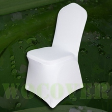 50 White Color Spandex Chair Cover for Wedding Party Decorations Banquet Flat in the Front Hot Sale Big Discount(China)