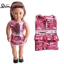 "18 Inch American Girl Doll Accessories Fashion Pink Sequins Dress Girl DIY Dress Up 18"" American Doll Birthday Present Baby Gift(China)"