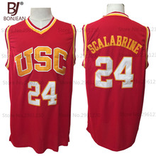 BONJEAN Mens Brian Scalabrine 24# USC Trojans College Throwback Basketball Jersey Stitched Red Shirt