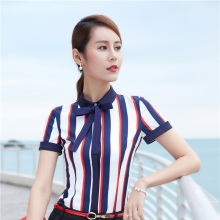 Short Sleeve Fashion Striped 2017 Summer Blouses  Shirts For Ladies Tops Female Clothes Business Women Work Wear Blouse Clothing