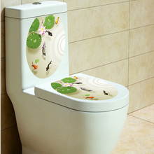 33*39cm beautiful pool Toilet wall Stickers for bathroom pvc fish poster wallpaper Home Decor