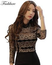 Fashion Women's Lace Blouse long-sleeve Basic Shirts Princess shirts For Evening Party Female Tops