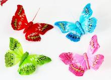 8*5CM 3 d crystal feather butterfly wall stickers magnet refrigerator refrigerator home decoration 24 pcs/lots free shipping