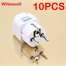 WILTEEXS 10pcs/lot International Travel Universal Adapter Electrical Plug For UK US EU AU to EU European Socket Converter White(China)