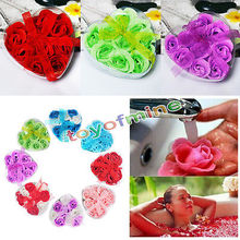 9Pcs Rose Petal Soap Heart Shaped Flower Gift Bath Body Flower Heart Favor Soap Rose Petal Wedding Decoration Party Gift