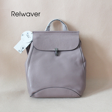 Backpack women genuine leather cowhide soft fashion trend cover bullet lock purple multifuntional stylish travel bag school bags