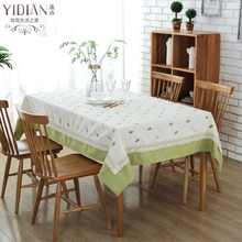 Fine Green Leaf Embroidery Cotton Tablecloth with Lace Edging Table cloth For Weddings home Table Cover Nappe Rectangulaire(China)