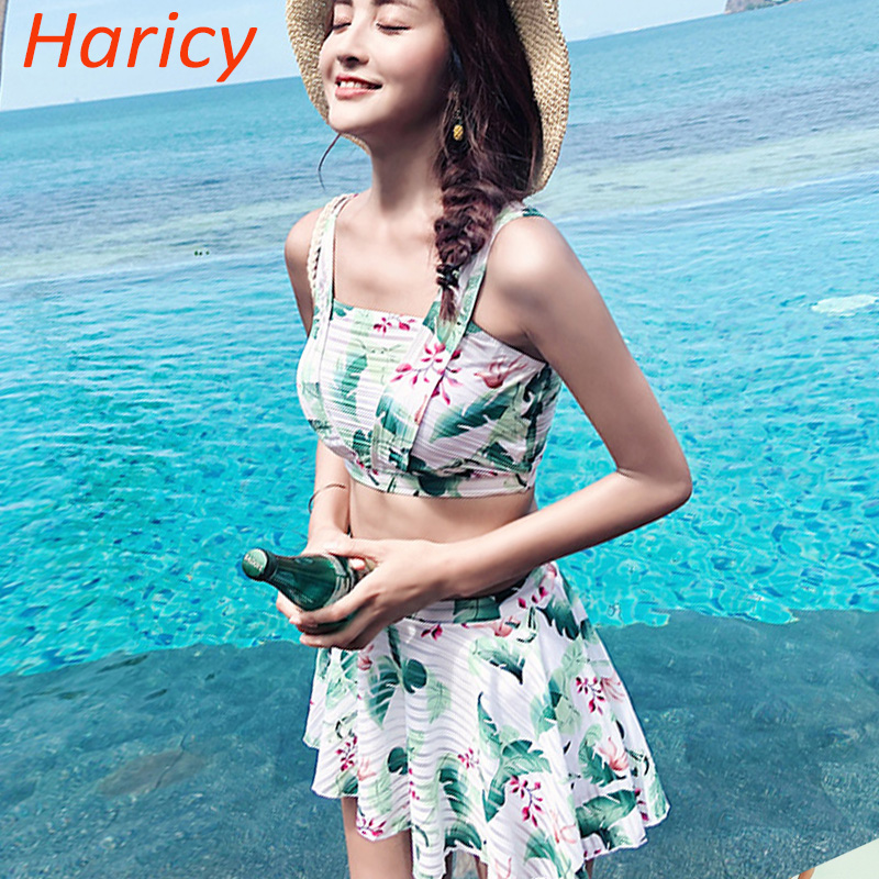 2018 Sexy Green Floral Micro Bikini Women Swimsuit Dress Brazilian Bikinis Set Bathing Suit Beach Maillot De Bain Monokini<br>
