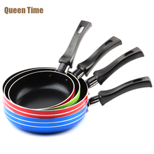 "QueenTime 5""/5.5""/6"" Mini Aluminum Frying Pan Kitchen Panela Fryer 12/14/16cm Colorful Egg Griddles & Grill Pans For Gas Cooker(China)"