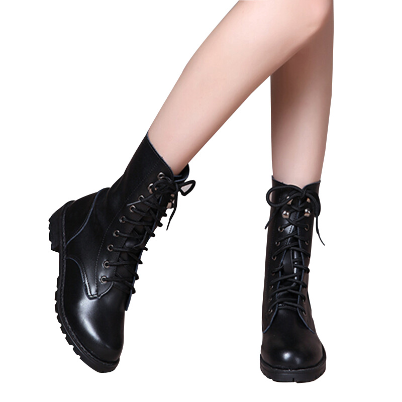 2017 Women Boots Punk Knight Classic Black Lace-Up Rain Boots Autumn Winter Warm Waterproof Comfortable Lover Shoe<br><br>Aliexpress