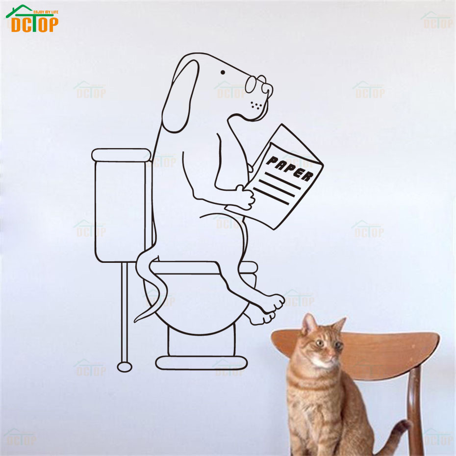 Cartoon Dogs Go To WC Wall Stickers Lovely Animal Vinyl Decals For Door Children Room Home Decor Bathroom PVC Wall Decals (5)