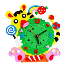 DIY Alarm Clock EVA Puzzle Toys Children Educational Toys Baby Kids Early Learning Toy(China)