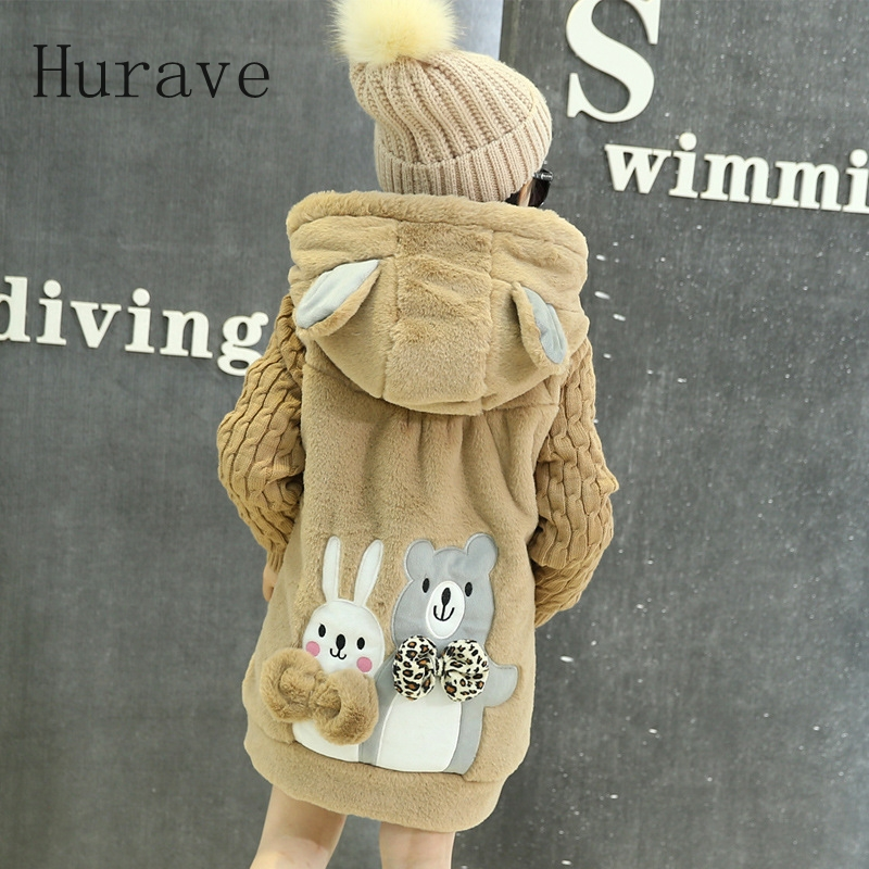 Hurave Fashion autumn winter 2017 baby girls jacket coats thick cute kids children outerwear Long Sleeve Jacket knitwear<br>