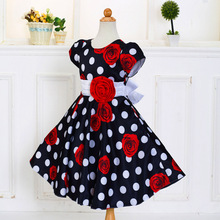 Baihui 2017 High Quality Cotton Lining Printed Rose Princess Dress Girl`s Black Dot Red Flower Bow Dresses