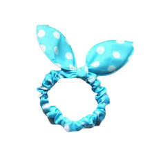 12pcs/lot FancyQube Korea Trinkets Rabbit Ears Fabric Polka Dot Rubber Band Hair Rope Ring Random Color