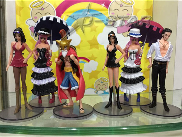 Free Shipping 6pcs One Piece Anime Luffy Robin Mihawk Perona The 100th PVC Action Figure Collection Model Toy (6pcs per set)<br><br>Aliexpress