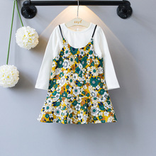 2017 New Spring Girls Clothes Sets Cotton White Long Sleeve+Small Floral Fine Sling Dress Girls Clothes Children's Clothing