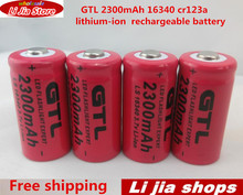 4pcs/lot 3.7v 2300mAh 16340 cr123a rechargeable battery lithium-ion battery for the red LED of flashlight(China)
