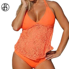 FS Mesh Pattern Lace Crochet Plus Size Triangle Swimsuit Women Bikinis Set Long Swimwear Beach Bathing Suit Orange Yellow M 5XL(China)